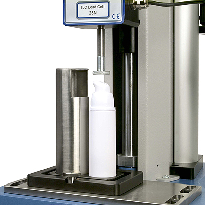 Testing the actuation force of a cosmetics pump dispenser with contents