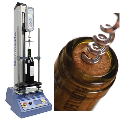 A motorised test stand accurately measures the user extraction force of the cork to ISO 9727