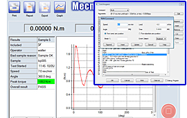 Create test programs, perform calculations, and display closure torque measurement graphs