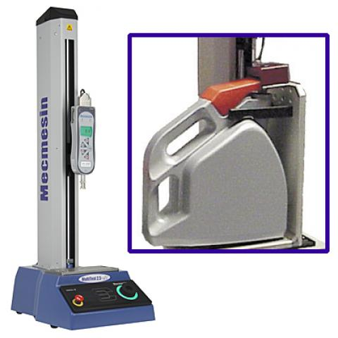 A force test stand and gauge combination can measure the removal force of an industrial cap