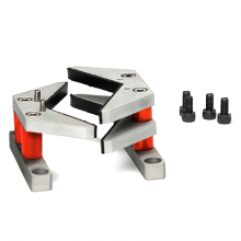 V-jaw vice clamp grips low-friction plastic surfaces for accurate torque testing