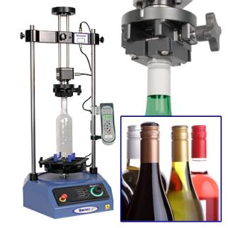 The Vortex motorised closure torque tester enables tamper evident ROPP wine bottle caps to be tested